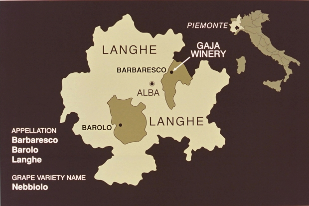 GAJA WINERY LOCATION MAP